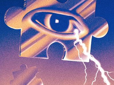 Crying Lightning illustration texture rock indie music gig poster gig poster grain vintage dark abstract surreal arctic monkeys puzzle lightning storm eye
