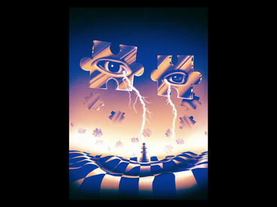 Crying Lightning illustration texture grit puzzle cry crying lightning eye king chess abstract surreal poster gig gig poster rock indie arctic monkeys