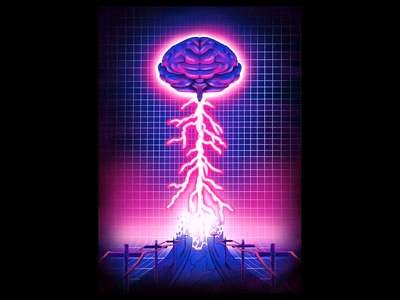 Thought Contagion illustration grit poster texture grid road virus contagion thought brainstorm lightning brain tron neon cyber vaporwave gig poster rock indie muse
