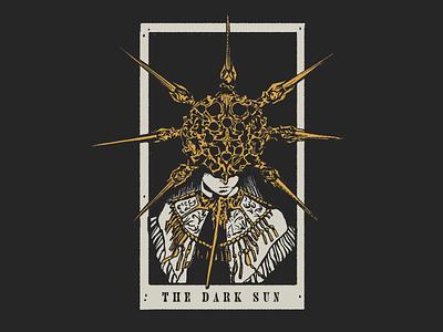 The Dark Sun horror illustration merch sun skull vintage grit texture card tarot souls dark dark souls
