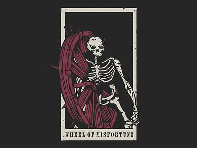 Wheel of Misfortune screenprinting vintage texture illustration wheel dark souls souls dark skeleton skull card tarot misfortune