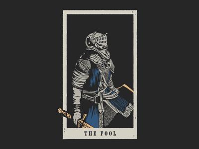 The Chosen Fool texture illustration chosen undead dark souls print screen screenprinting vintage card tarot armor sword knight souls dark