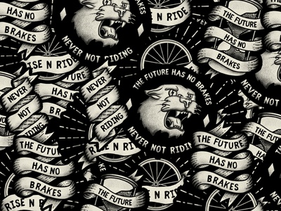 Sticker Madness rough texture grit illustration old school vintage ribbon panther tshirt bicycle bike street streetwear apparel riding sticker