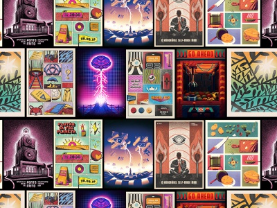 Poster Frenzy surreal texture brain dark netflix gig indie rock rock indie illustration brand illustration poster poster design gig poster