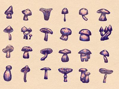 Fungus Amongus foil stamp holographic iridescent fantasy branding texture illustration impostor among us us among foil mushroom fungus