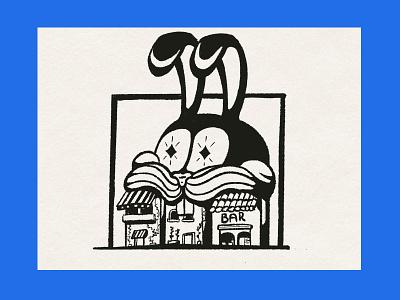 Easter? star branding texture vintage blackwork illustration drawing traditional ink building stores bunny easter bunny easter
