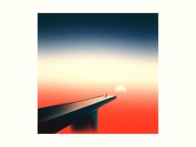 Trust sooth gig poster 36daysoftype surreal life meaning abstract retro vintage grit noise texture illustration bridge sunrise sun sunset gradient sky trust
