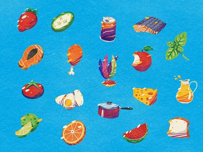 Unicef - Eating Habits strawberry orange cheese basil apple food eating unicef nutrition fruits veggies illustration editorial illustration texture vintage retro kids fun