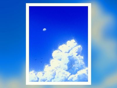 Fading Summer sky noise texture moon peace vibes chill peaceful puffy cloud summertime cloud summer fading editorial illustration poster
