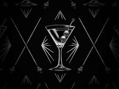 Dark Martini retro vintage old school illustration blackwork stippling branding packaging grit texture alcohol gin glass martini victorian tattoo