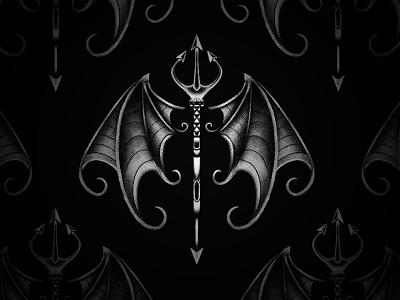 The Devil packaging stippling old school dark victorian alcohol gin wings trident the devil devil blackwork tattoo branding retro vintage illustration texture