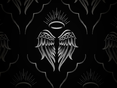 The Angel alcohol gin packaging stippling blackwork tattoo branding retro vintage illustration texture halo angel