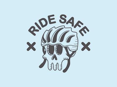 Ride Safe cap sticker skull helmet bike gear fixed safe ride