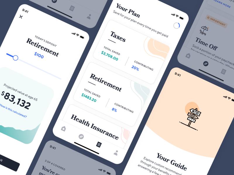 Catch Benefits launch ios finance fintech insurance health care taxes retirement benefits freelance app branding ux
