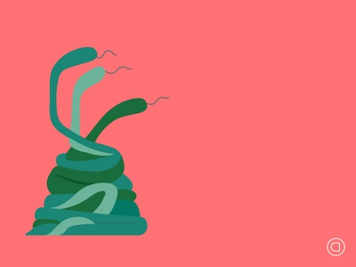 Weekly Illustrations   Series 008   #039 graphic design illustration illustrator minimal vector clean concept daily flat sketch snakes animals