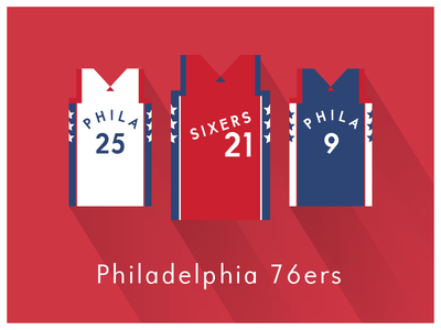 NBA Fan Art: Philadelphia 76ers uniforms basketball nba illustrator art illustrator graphics graphic art vector art flat illustration minimal design illustration graphic design