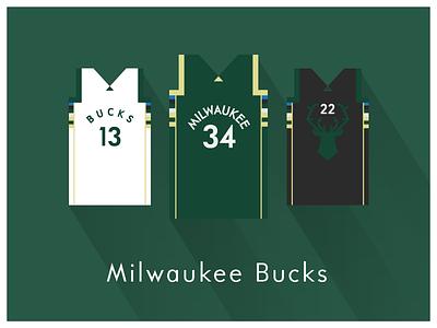 NBA Fan Art: Milwaukee Bucks uniforms basketball nba illustrator art illustrator graphics graphic art vector art flat illustration minimal design illustration graphic design