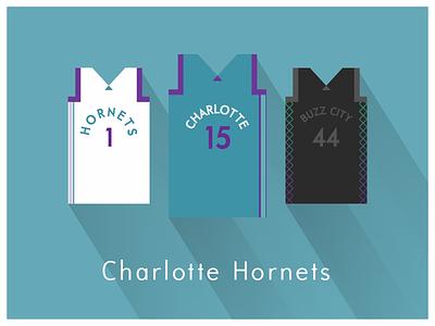 NBA Fan Art: Charlotte Hornets uniforms basketball nba illustrator art illustrator graphics graphic art vector art flat illustration minimal design illustration graphic design
