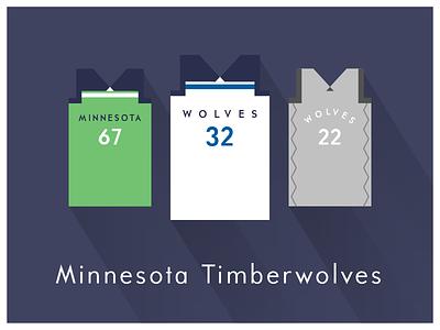 NBA Fan Art: Minnesota Timberwolves uniforms basketball nba illustrator art illustrator graphics graphic art vector art flat illustration minimal design illustration graphic design