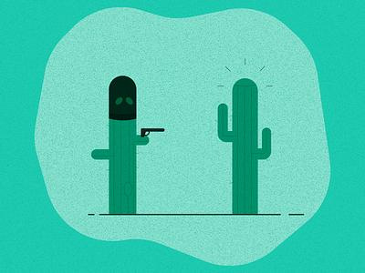 Cactus-on-Cactus Crime robbery cactus illustrator vector art flat illustration illustration graphic design