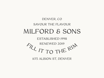 Milford & Sons brewery logo beer logo brewery typelockup graphic design identity branding brand vector typedesign typeface clean design lockup typography type clean