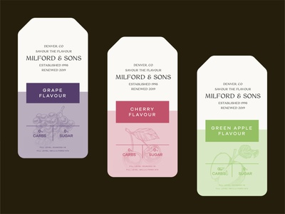 Milford & Sons Can Label brand identity apple green apple cherry grape packaging design can design candesign ciderdesign beerdesign ciderhouse ciderlogo beerlogo identity branding brand vector logo clean