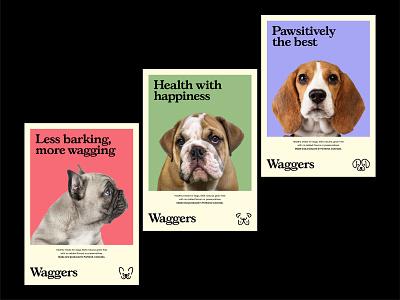 Waggers Posters textured illustration texture illustration design graphic design identity branding dog treats dog brand dog logo dog brand logo vector clean