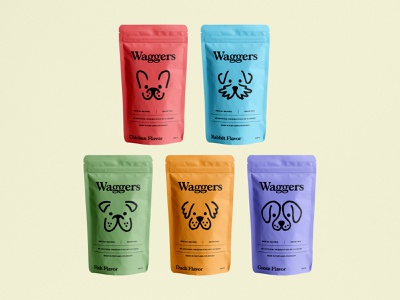 Waggers Packaging texture textured illustration illustration design graphic design identity branding brand vector clean dog food dog treats dog