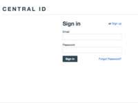 Central ID login form