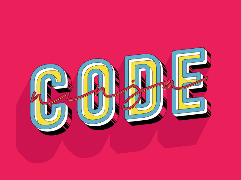 Ninja Code 🐯 type design red flat minimalist illustration logo lettering colorful clean carton drawing blue sticker badge artwork art 2d