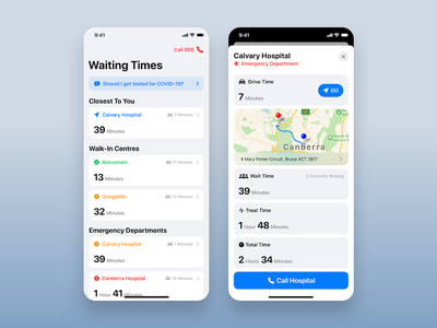 ACT Health App • Hospital Waiting Time ui redesign act canberra waiting time mobile medical map hospital healthcare health emergency doctor directions department crisis covid-19 coronavirus app