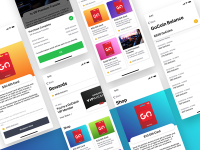 GoCatch Rewards | Shop gocatch gradient points hail minimal gift card card gift color flat ux ui coin taxi rideshare car app loyalty program loyalty rewards