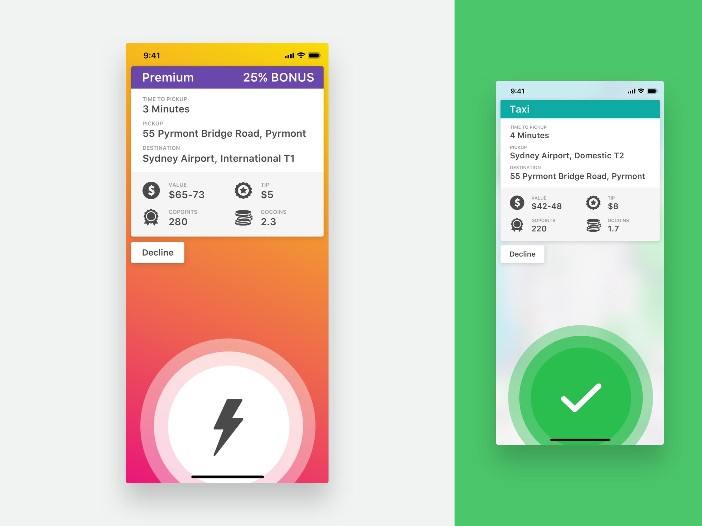 GoCatch Driver App • Trip Offer by Alex | Dribbble | Dribbble