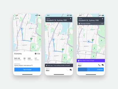 GoCatch Driver App • Trip Offer + Accepted (Concept) map ridesharing navigation gps contextual points fare chauffeur driver app booking car ui android ios app taxi ridehailing rideshare driver gocatch