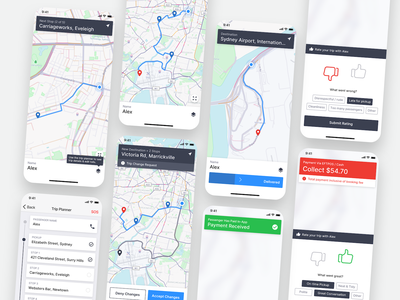 GoCatch Driver App • In Trip (Concept) map ui taxi ridesharing rideshare ridehailing navigation ios gps gocatch fare driver app driver contextual rating chauffeur car booking app android