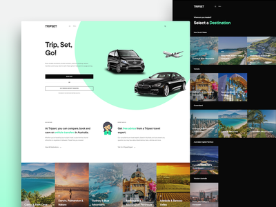 TRIPSET Website landing page landing website wordpress mint gocatch rideshare passenger book booking taxi plane car chauffeur holiday airport transfer travel minimal web