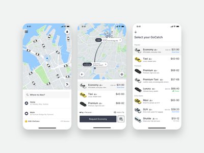 GoCatch Passenger App • Booking (Concept) route rideshare minimal marketplace map maas ios chauffeur car vehicle transport taxi booking app taxi travel ui mobility ridehailing booking app android