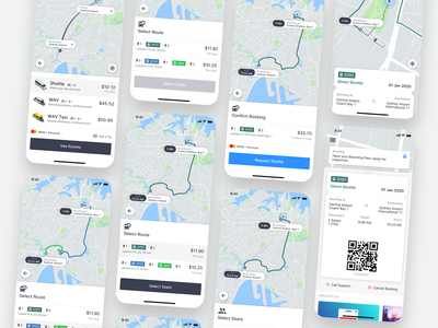 GoCatch Passenger App • Shuttle Transit (Concept) transport rideshare sydney airport map maas booking ios app boarding route pass qr ticket ticketing transit transfer coach bus shuttle