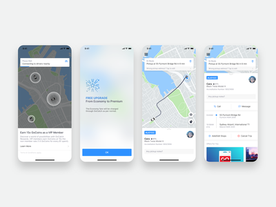 GoCatch Passenger App • In-Trip (Concept) vehicle travel transport taxi booking app taxi route rideshare ridehailing mobility minimal navigation map maas ios driver chauffeur car booking app android