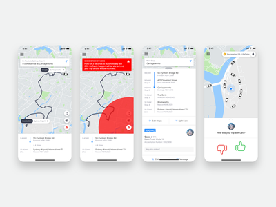 GoCatch Passenger App • In-Trip (Concept) vehicle travel transport taxi booking app taxi route rideshare ridehailing navigation mobility minimal map maas ios driver chauffeur car booking app android