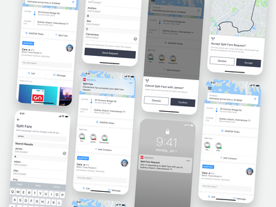 GoCatch Passenger App • Split Fare (Concept) share fare vehicle travel transport taxi booking app taxi rideshare ridehailing navigation mobility minimal map maas ios driver car booking app android