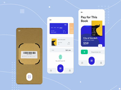 Scan and Pay interaction animation animation gif dezakir ux typogaphy blue iphone loader book ecommerce payment pay scanner scanning scan art application app animation