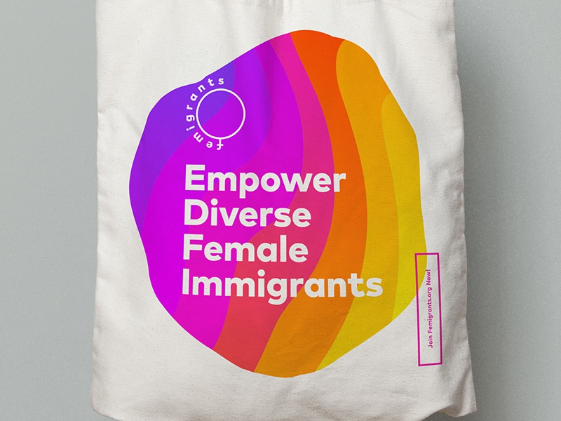 Femigrants Tote swag event logo branding typography design