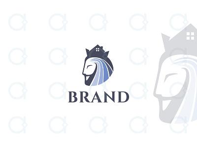 King House Logo constructor brand identity branding design logo cottage hotel mortgage brokerage property realtor real estate house home beard crown kingdom king