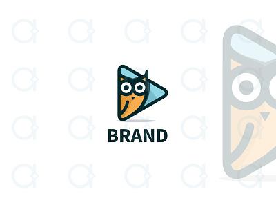 Owl Video Logo branding design logo application apps app multimedia media animal mascot movie cinema film sound button play video bird owls owl