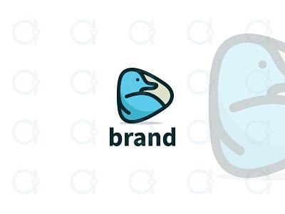 Duck Video Logo design logo application apps app digital multimedia media button play cinema film movie video animal quack bleat ducks duck