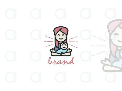 Mama Yoga Logo balance zen design logo happy care nurture meditation pilates yoga parenting kids mothers mother mommy moms mom mama