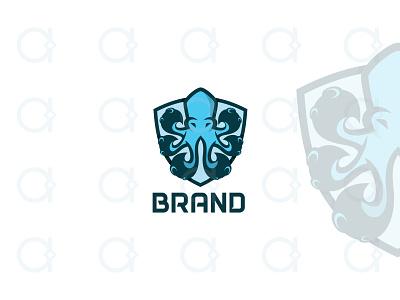 Octopus Logo brand identity branding octo youthful modern protect guardian guard marine sea tentacles design logo animal security shield mascot octopus