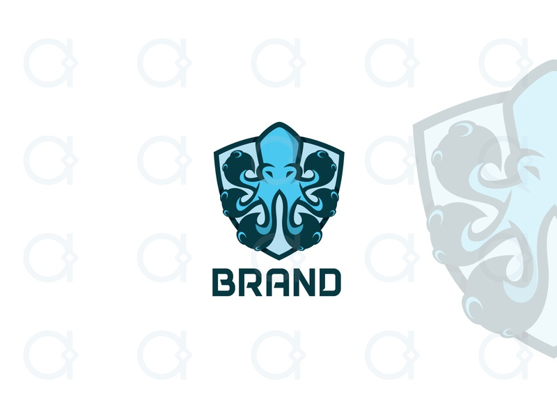 Octopus Logo brand identity branding octo youthful modern protect guardian guard marine sea tentacles design logo animal security shield mascot octopus