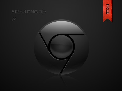 Chrome in black icon chrome google browser icons black glossy sharp edge cool free download